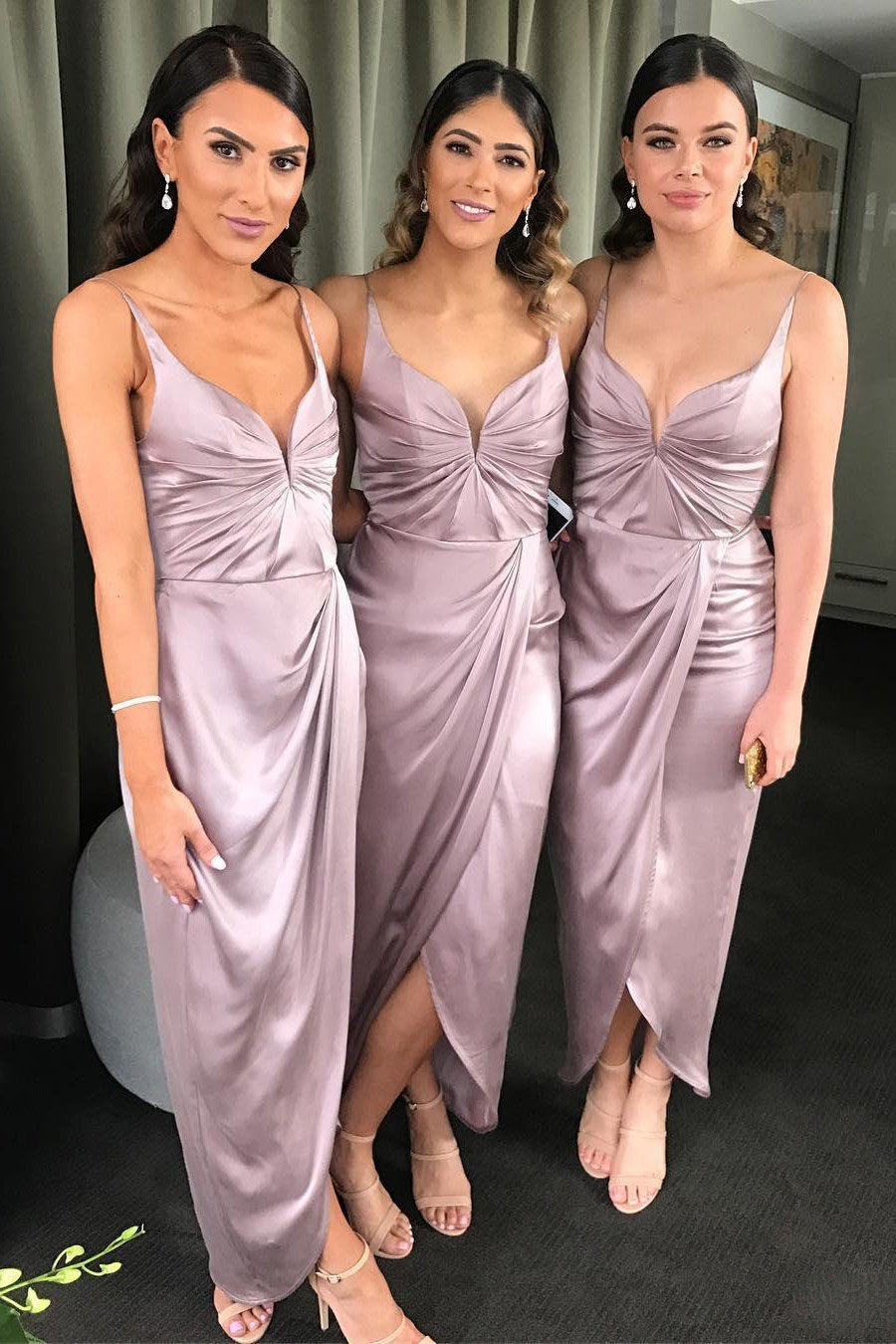 Ankle length bridesmaid dresses spaghetti straps split wedding guest gowns gb389
