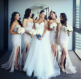 Mermaid bridesmaid dresses sweetheart lace bridesmaid dress with split gb393