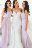 Spaghetti straps long bridesmaid dresses mermaid wedding guest gowns gb394