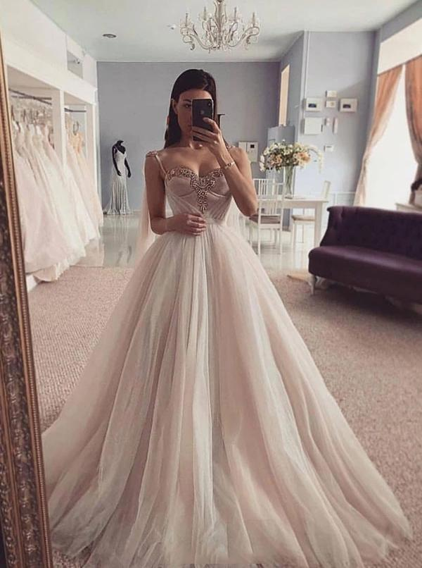 Custom Made Spaghetti-straps Tulle Sweetheart Wedding Dresses PW51