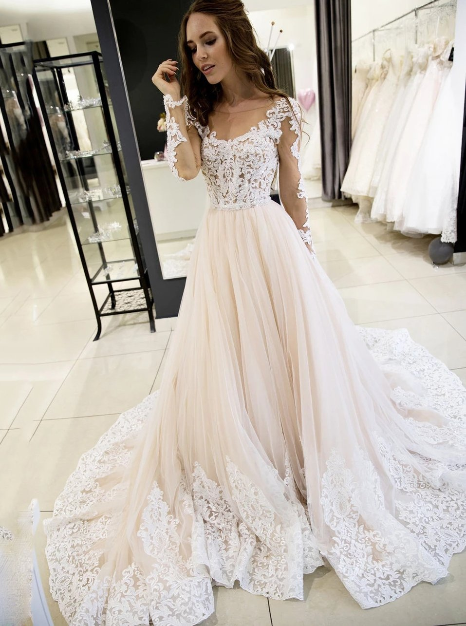 Sheer Round Neckline Tulle Lace Appliques Long Sleeves Wedding Dresses PW50