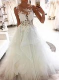 Round Neckline Tulle Sleeveless Wedding Dresses With Lace Appliques PW49