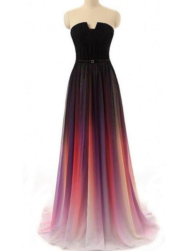 Strapless Notched Ombre Long Prom Dresses Backless Formal Gown With Pleats MP34