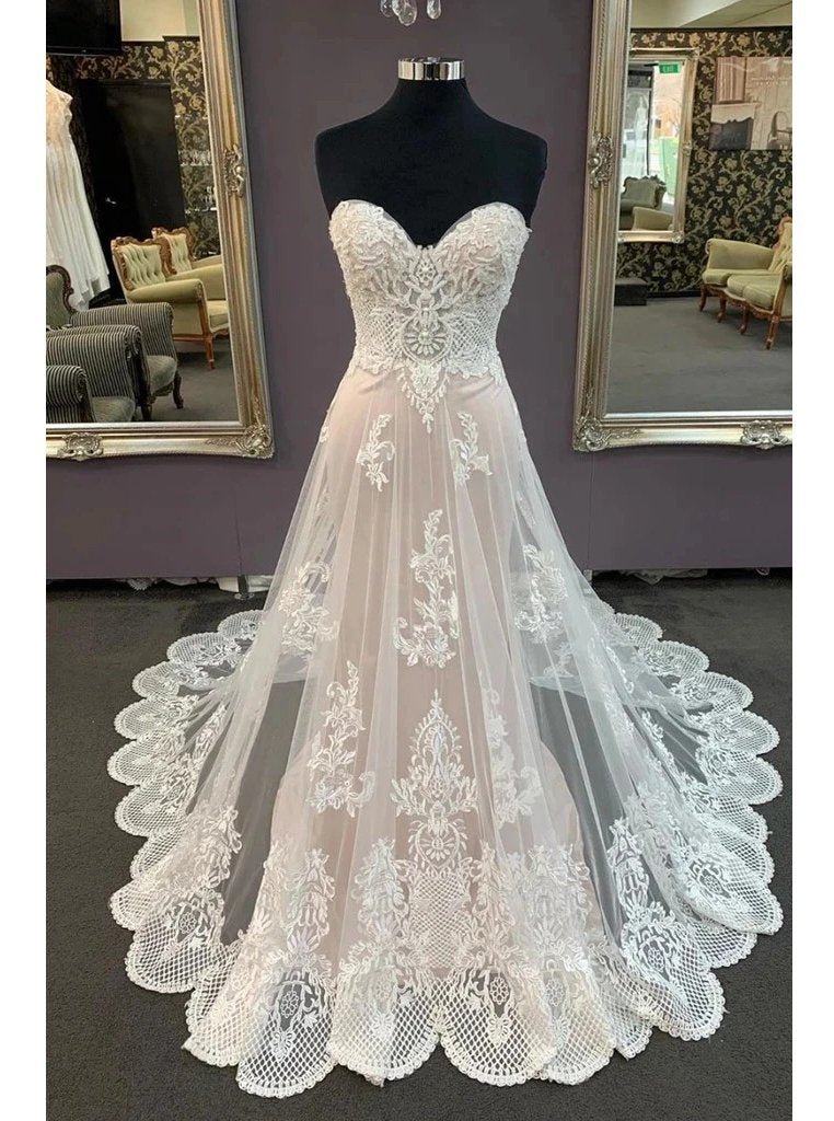 Sweetheart lace appliques beach wedding dress, cheap bridal dress mg702