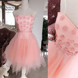 Strapless Sweet 16 Dress With Floral Appliques Homecoming Dress GM326