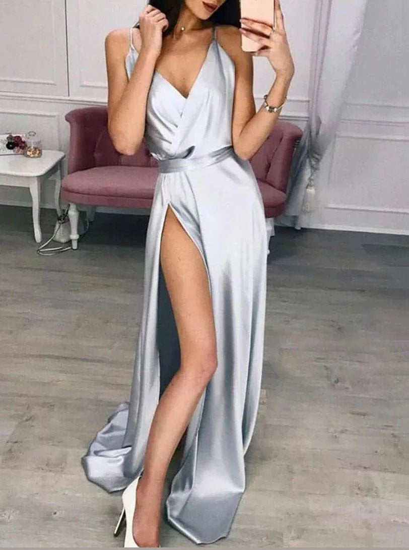 V-neck Satin Sleeveless Silver Long Prom Dresses, Split Simple Evening Gown MP74