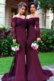 off the shoulder long sleeve purple mermaid prom dresses with embroidery mp1051