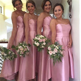 Sweetheart high low simple pink bridesmaid dress with pleats gb356