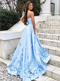 A Line 3D Flowers Sky Blue Strapless Long Prom Dresses with Pockets MP131