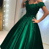 Off Shoulder Green Ball Gown Appliqued Prom Formal Dresses MP129