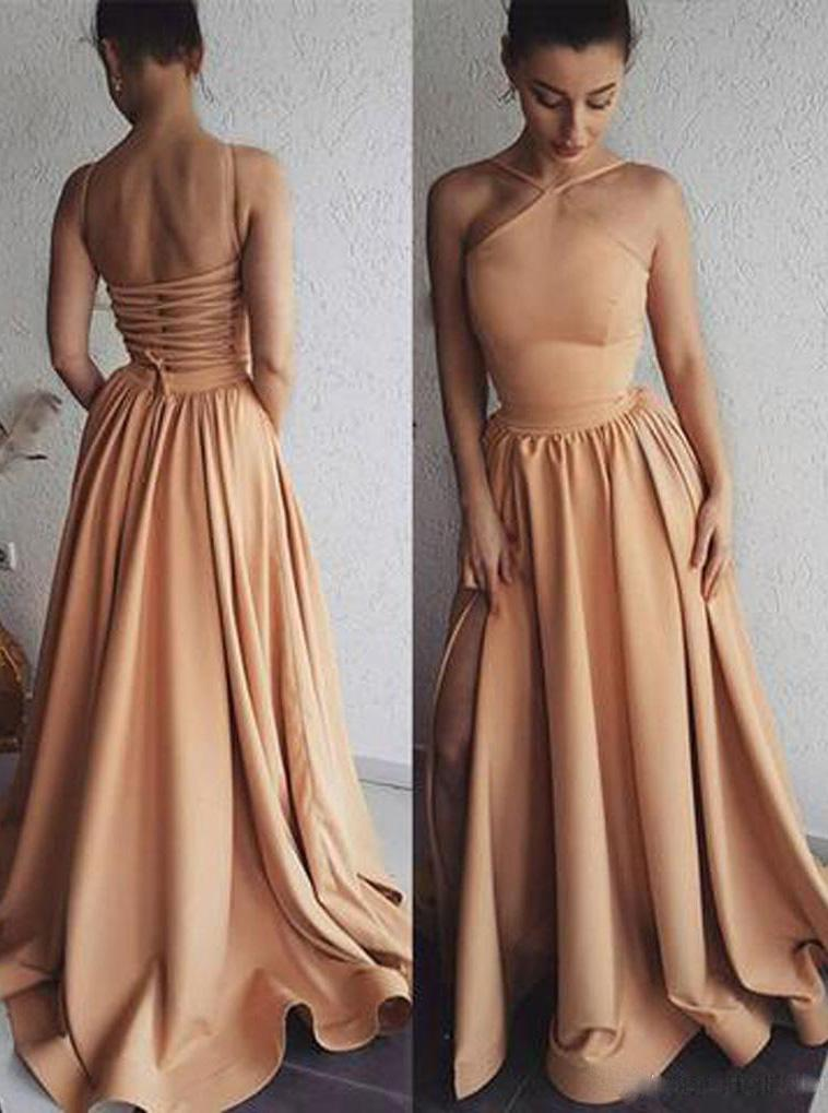 A-line Halter Satin Long Prom Evening Dresses with Split MP100