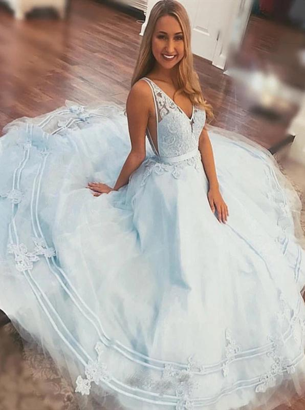 A-line V-neck Long Light Sky Blue Prom Dresses With Lace Appliques MP17