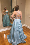 Glitter mint green a-line two piece sparkle prom dresses with pockets mg131