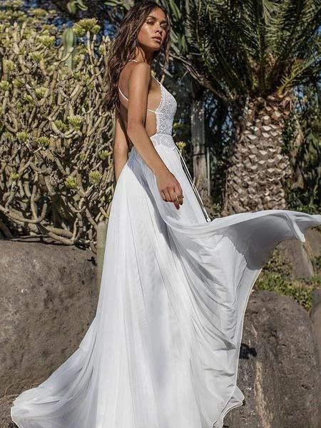 Boho V-neck Chiffon Long Wedding Dress, Beach Backless Two Piece Maxi Dress PW22