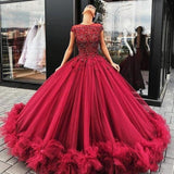 Burgundy tulle prom dress ball gown beaded long formal evening gown mg256