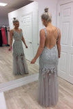 Grey backless prom dresses lace appliques mermaid evening dresses mg133