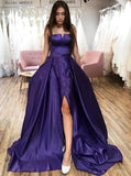 Straps purple strapless long prom dresses simple split evening dress mg252