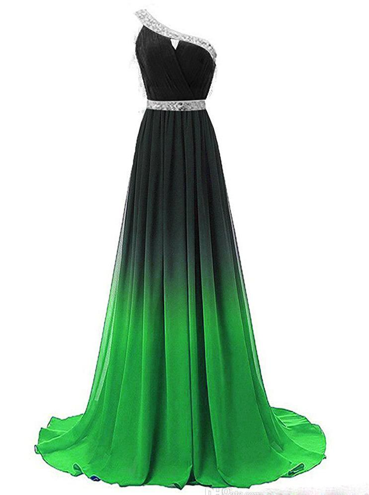 One Shoulder Chiffon Ombre Prom Dresses Beaded Gradient Formal Party Gowns MP120