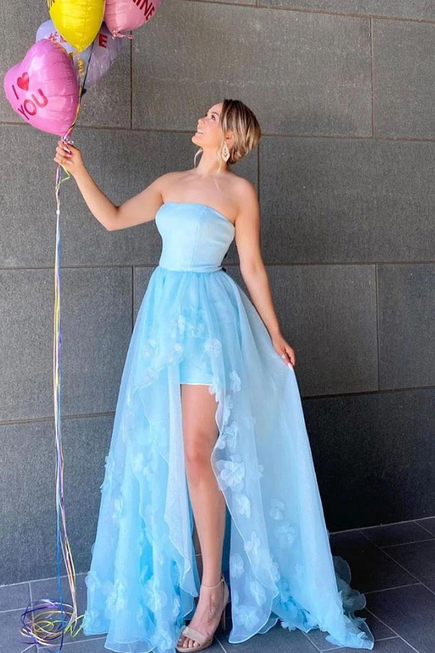 Strapless long prom dresses ice blue handmade flowers tulle evening dress mg17