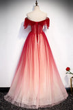 Off-Shoulder Tulle Red Long Prom Dresses, Lace Up Princess Party Gown MP61