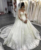 Luxury Lace Long Sleeves Wedding Dresses Ball Gown With Beaded Appliques PW18