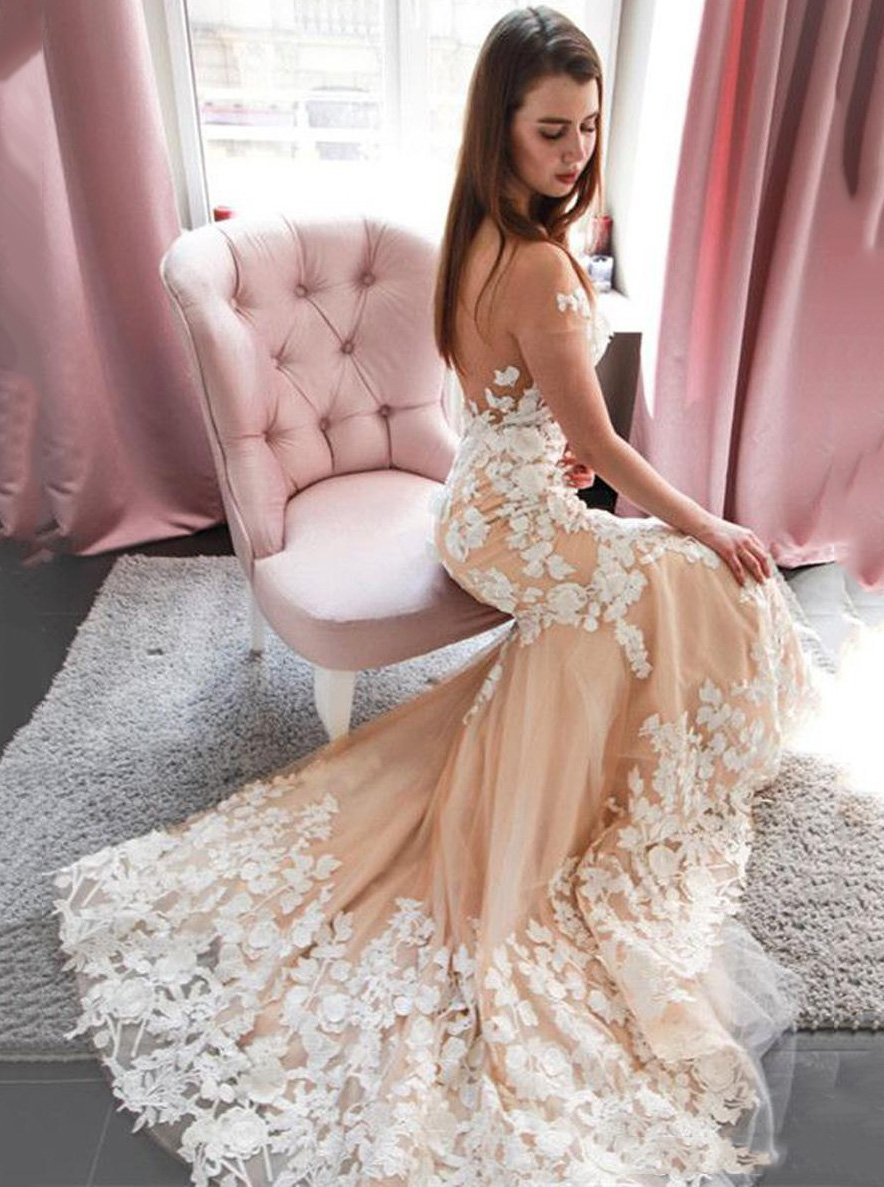 Sexy See Through Tulle Mermaid Wedding Dresses, Backless Brial Gown With Appliques PW14