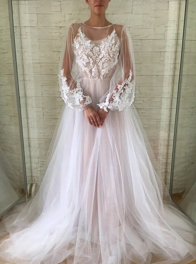 Gorgeous A-line Bateau Long Puff Sleeves Wedding Dress With Appliques PW35