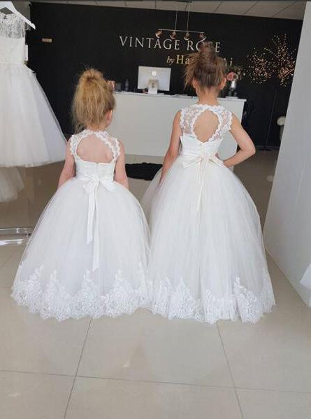 Princess Ivory Scoop Neckline Open Back Flower Girl Dresses With Lace PF142