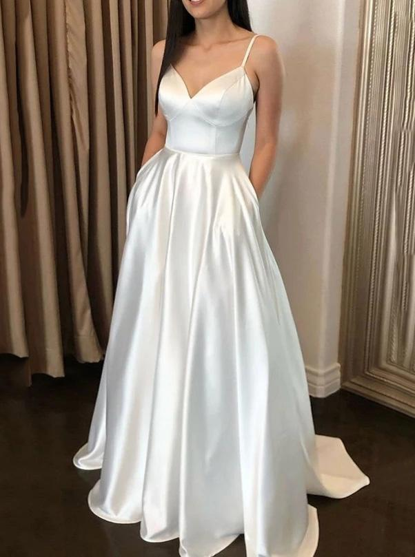 Simple Satin A-line Ivory Spaghetti Straps Long Prom Dresses With Pockets MP68
