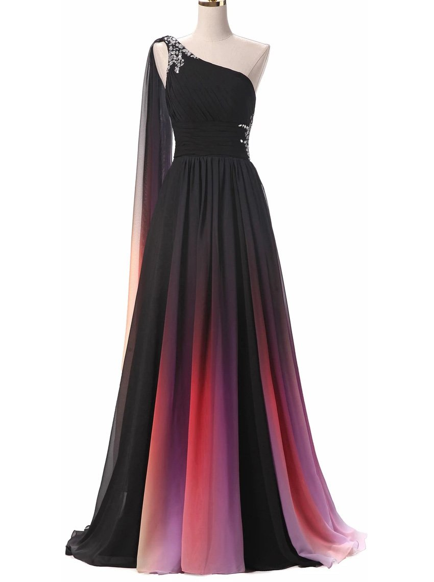 Gradient Long Prom Dresses One Shoulder Ombre Chiffon Evening Dress MP119