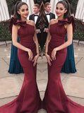 Burgundy Mermaid Long Prom Dresses, Ruffles One-Shoulder Formal Evening Gown MP64