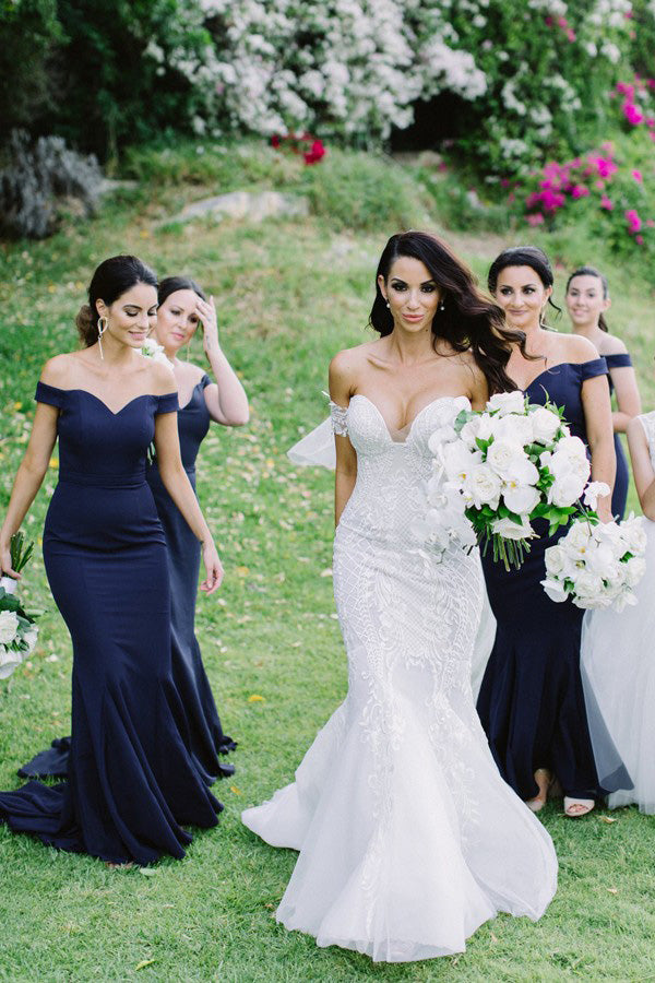 Off-the-Shoulder Satin Mermaid Dark Blue Bridesmaid Dresses PB29