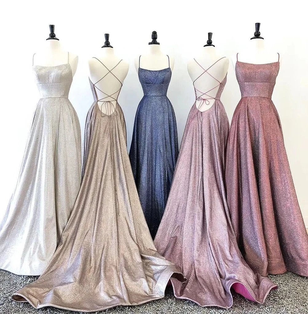 Spaghetti Straps Scoop Neck Long Prom Dresses, Backless Sleeveless Evening Gown MP58
