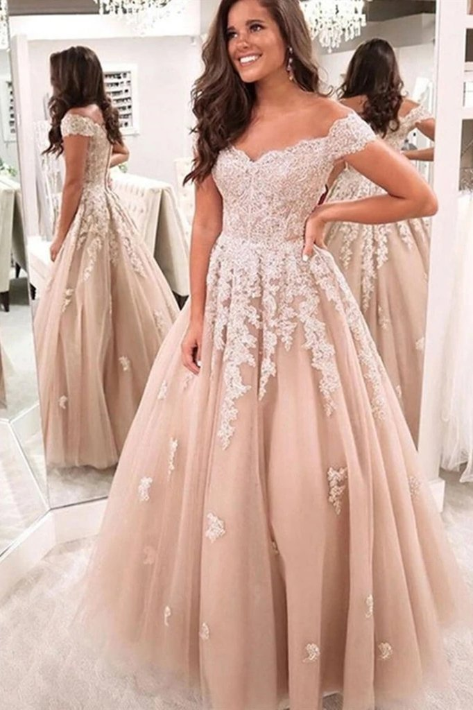 Off shoulder tulle formal prom dresses, lace appliques wedding dresses mg174