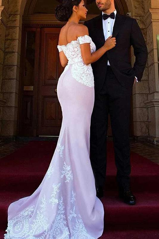 Off-the-shoulder mermaid bridesmaid dresses with lace appliques gb384