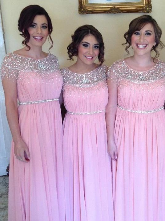 A-line scoop neckline long pink bridesmaid dresses with beading gb383