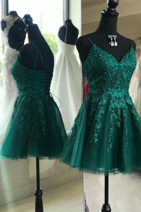 Emerald Green Homecoming Dress A-line V-neck Backless Short Prom Dress GM300