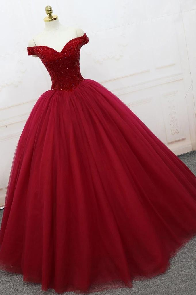 Off Shoulder Ball Gown Burgundy Tulle Long Prom Dresses With Beading MP144