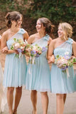 One-Shoulder Mint Blue Chiffon A-Line Short Bridesmaid Dresses PB102