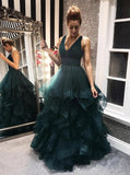 Dark green tulle backless prom dresses, long evening dress mg178