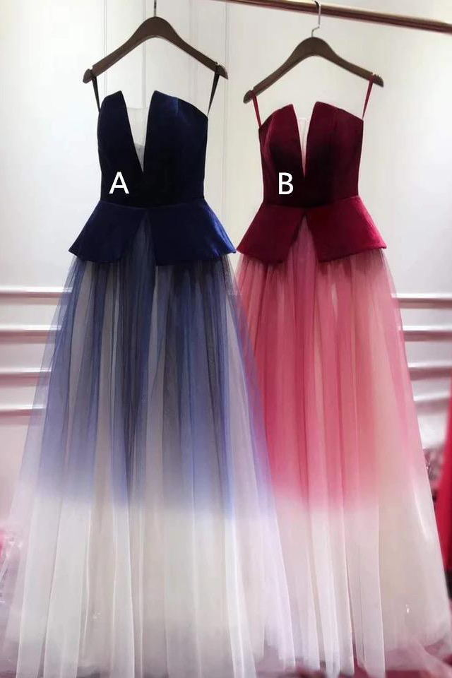 Spaghetti-straps Ombre Prom Dresses Plunging Long Evening Gowns MP1133