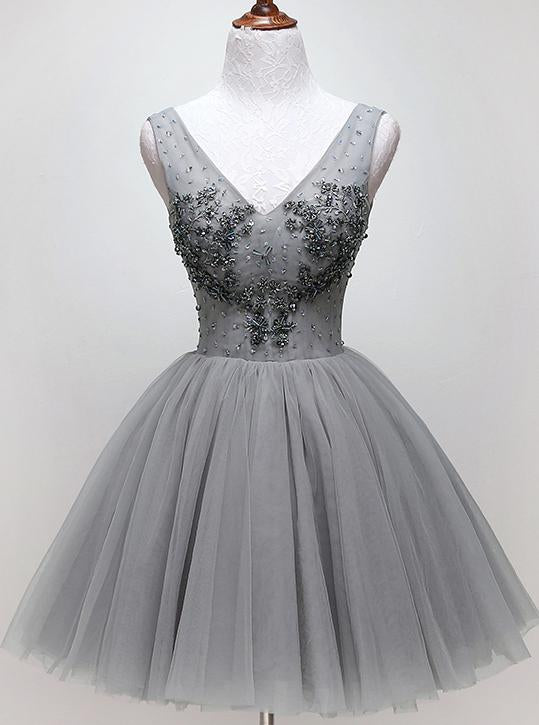 V-neck Beading Silver Short Prom Homecoming Dress Tulle Dance Dress GM84