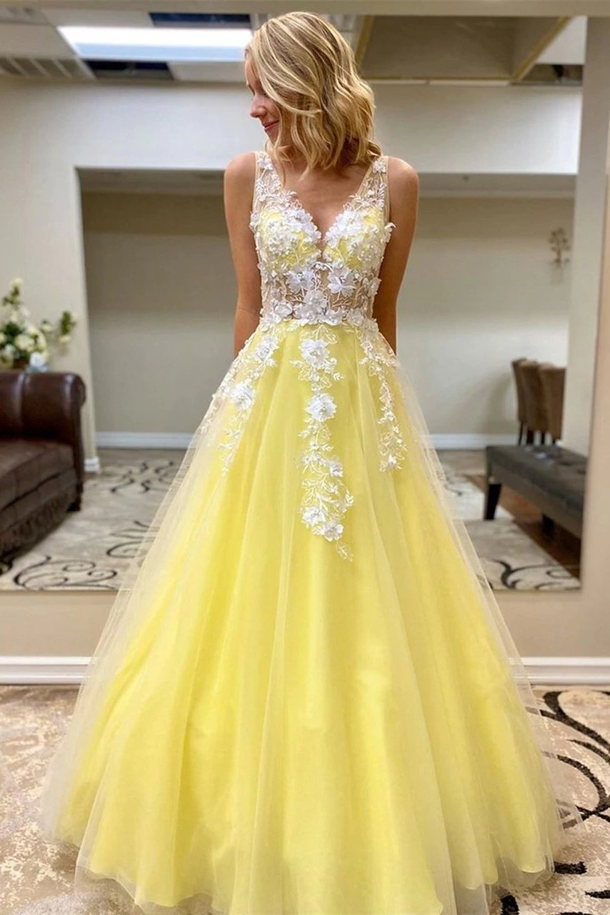 Princess v neck daffodil tulle long prom dresses with lace appliques mg157
