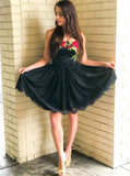 Strapless Black Lace Homecoming Party Dresses With Floral Embroidery GM30