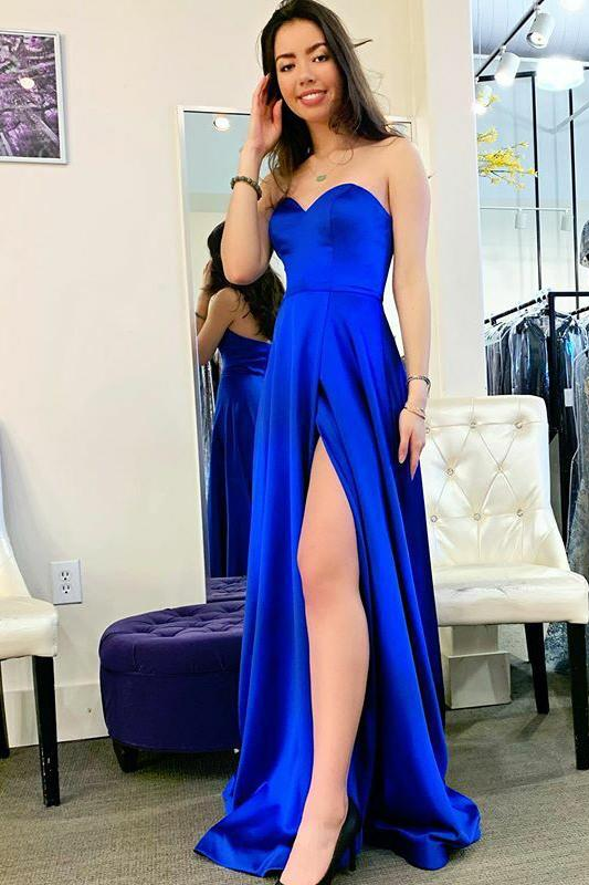 Simple royal blue long prom dresses, satin sweetheart evening dress with split mg25