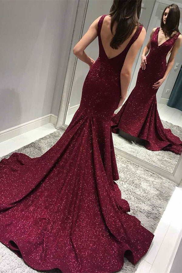 Sparkly Mermaid Burgundy Prom Dresses V-Neck Backless Evening Gown MP244