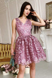 Vintage Lace Short Homecoming Dresses, A-line V-neck Short Prom Dress GM109