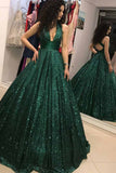Sparkly Sequins Ball Gown Dark Green V-neck Prom Dress MP339