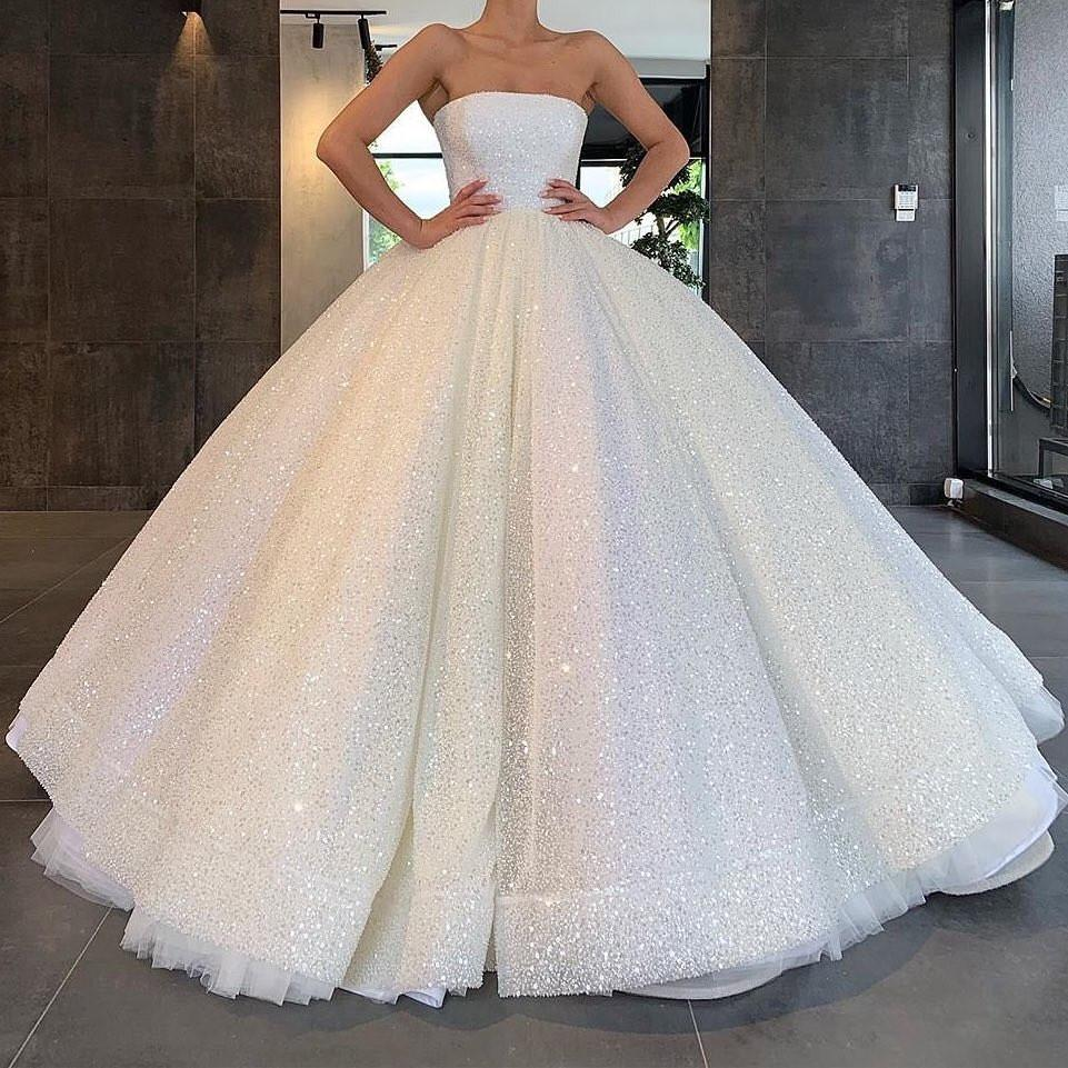 Glitter strapless ball gown wedding dresses sparkly bridal gown mg673