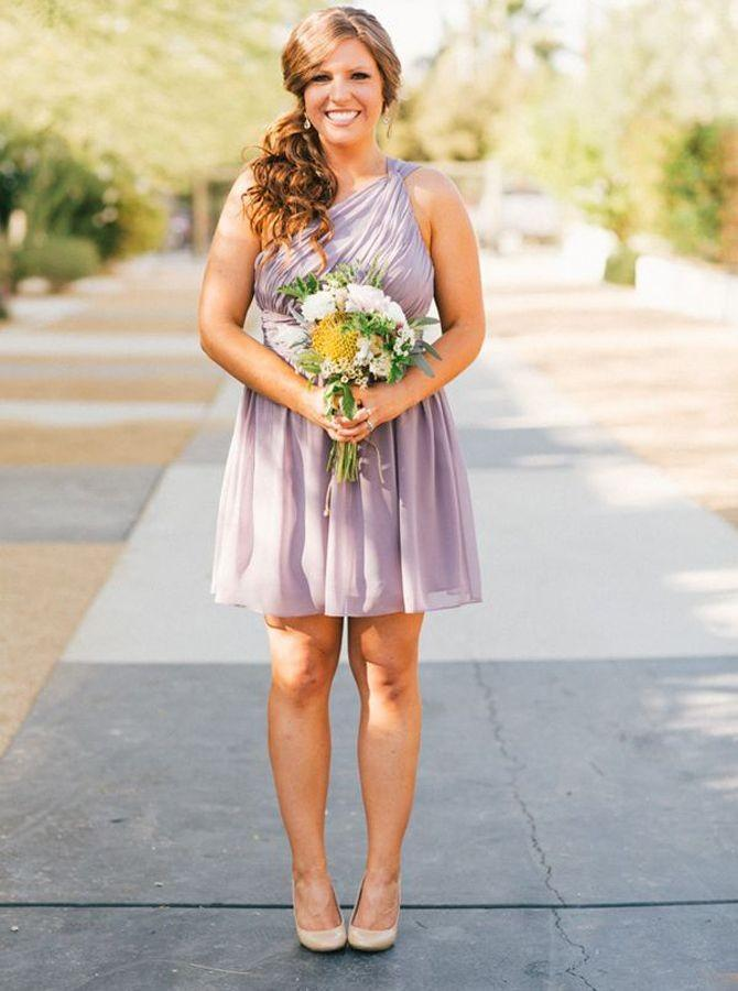 One-shoulder above-knee lavender chiffon bridesmaid dress gb373
